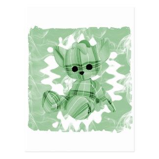 Pastel Green Spiral Smoke Teddy Bear Postcard