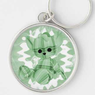 Pastel Green Spiral Smoke Teddy Bear Silver-Colored Round Key Ring