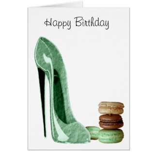 Pastel Green Stiletto and French Macaroons Art Greeting Card