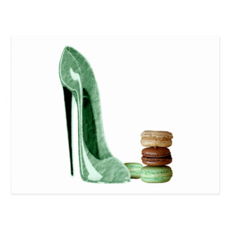 Pastel Green Stiletto and French Macaroons Art Postcard