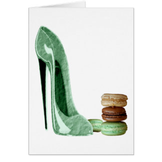Pastel Green Stiletto Shoe and French Macaroons Ar Greeting Card