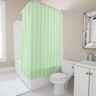 Pastel Green Striped Shower Curtain