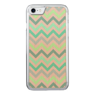 Pastel Green Teal Chevron Carved iPhone 7 Case