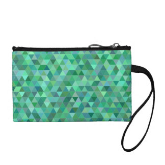 Pastel green triangles coin purse