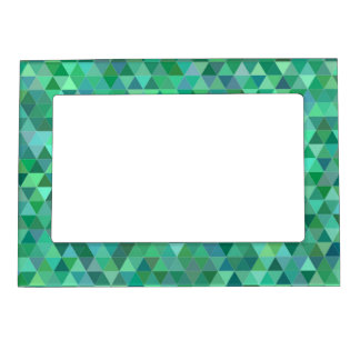 Pastel green triangles frame magnet