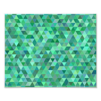 Pastel green triangles photographic print