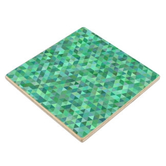 Pastel green triangles wood coaster