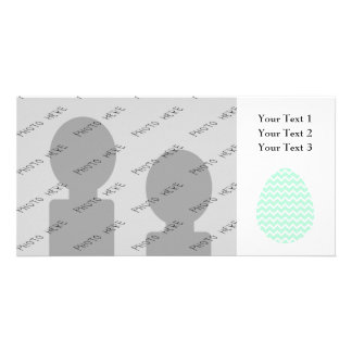Pastel Green Zigzag Easter Egg. Customized Photo Card