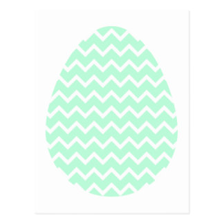 Pastel Green Zigzag Easter Egg. Postcard