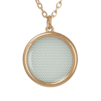 Pastel green zigzag pattern round pendant necklace