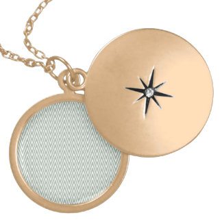 Pastel green zigzag pattern round locket necklace