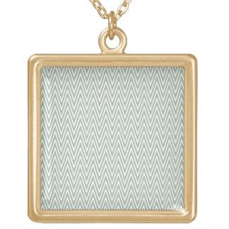Pastel green zigzag pattern square pendant necklace
