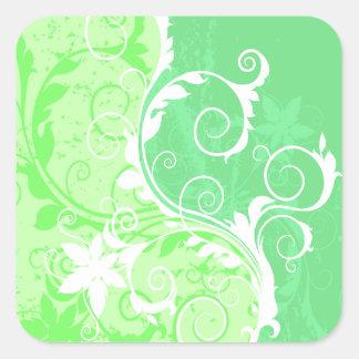 Pastel Greens and White Grunge Square Sticker