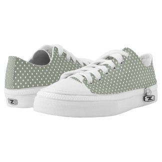 Pastel Grey And White Polka Dot Low Top Shoes