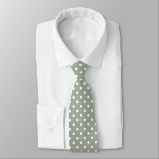 Pastel Grey And White Polka Dot Pattern Neck Tie