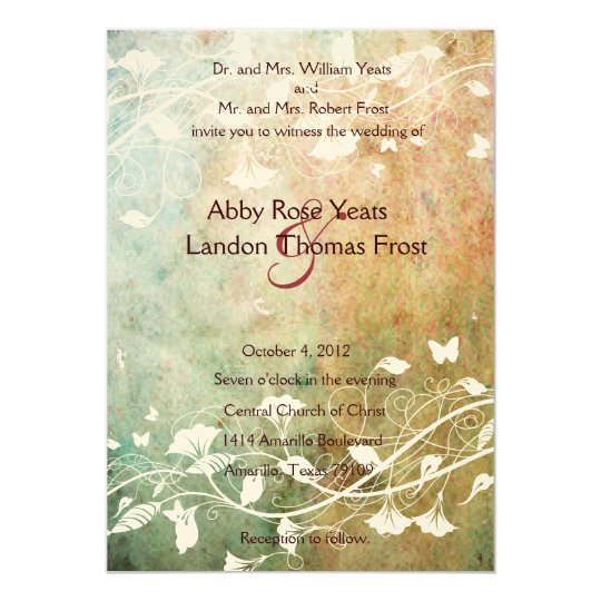 Pastel Grunge Wedding Invitation