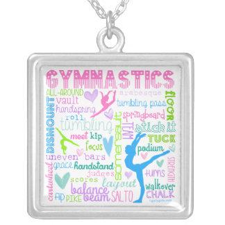 Pastel Gymnastics Words Typography Square Pendant Necklace