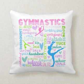 Pastel Gymnastics Words Typography Throw Pillow