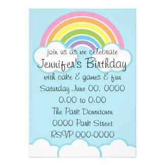 Pastel Happy Little Rainbow Personalized Invite