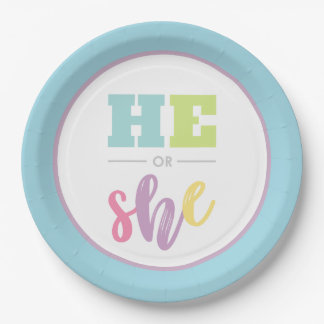 Pastel He or She Gender Reveal Party Paper Plate