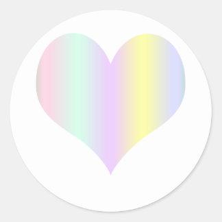 Pastel Heart Classic Round Sticker