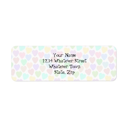 Pastel Hearts Design Just Add Address Return Address Label