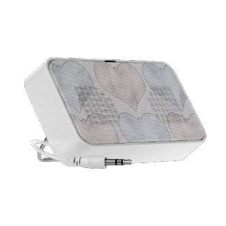 Pastel Hearts Doodle Laptop Speaker