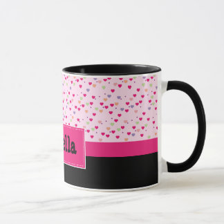 Pastel Hearts on Pink Personalized Mug