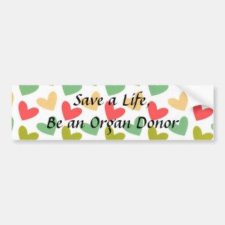 Pastel Hearts Organ Donor Bumper Sticker