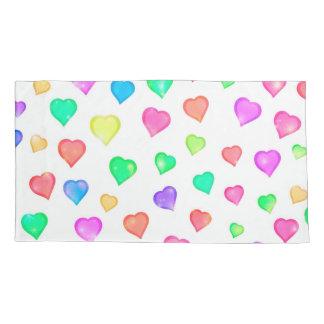 Pastel Hearts Watercolor Print Pillowcase