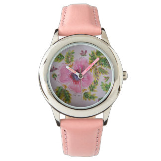 Pastel hibiscus watch