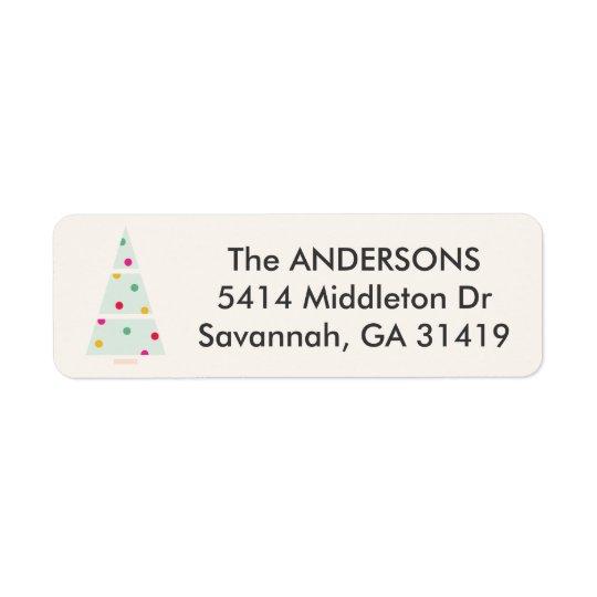 Pastel Holiday Tree Return Address Label