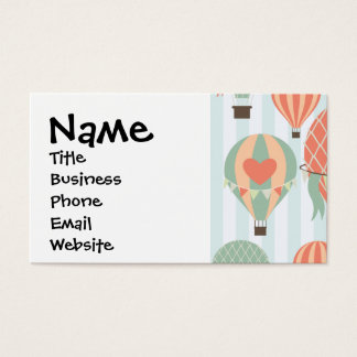 Pastel Hot Air Balloons Rising on Blue Striped Pat Business Card