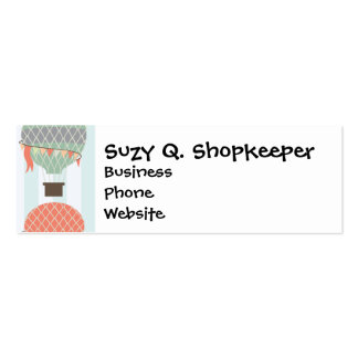 Pastel Hot Air Balloons Rising on Blue Striped Pat Business Card Templates
