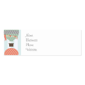 Pastel Hot Air Balloons Rising on Blue Stripes Business Card Template