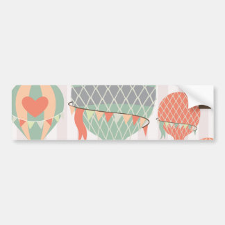 Pastel Hot Air Balloons Rising Pink Striped Sky Bumper Sticker