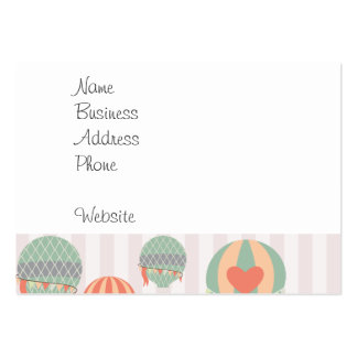 Pastel Hot Air Balloons Rising Pink Striped Sky Business Card Templates