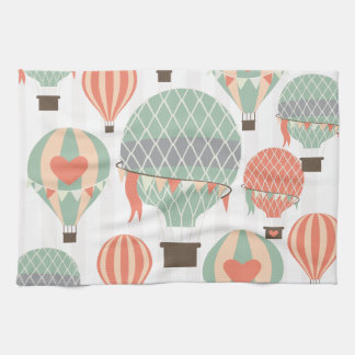 Pastel Hot Air Balloons Rising Pink Striped Sky Hand Towels