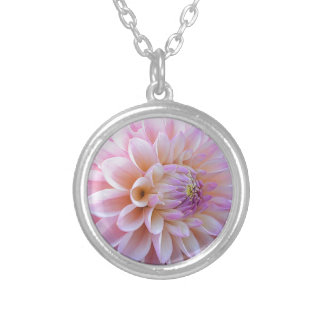 Pastel Hued Dahlia Silver Plated Necklace