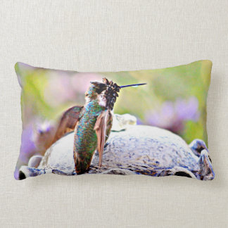 Pastel Hummer on Fountain Accent Throw Pillow