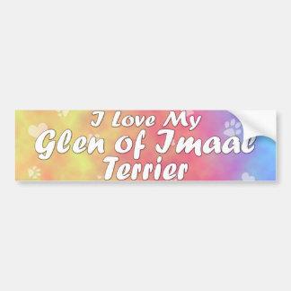 Pastel I Love my Glen of Imaal Terrier Car Bumper Sticker