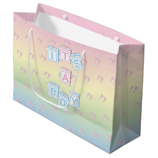 Pastel Its A Boy W/ Footprints Large Bag