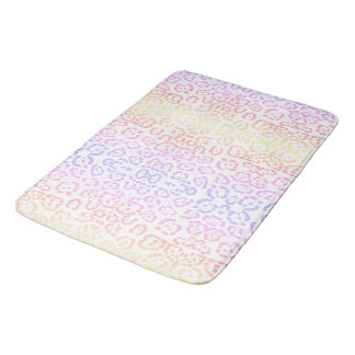 Pastel Kawaii Leopard Rainbow Animal Print Bath Mat