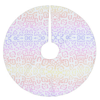 Pastel Kawaii Leopard Rainbow Animal Print Brushed Polyester Tree Skirt