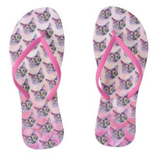 Pastel Kitty Cat Thongs
