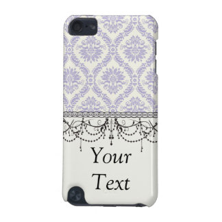 pastel lavender and cream ecru ivory lovely damask iPod touch (5th generation) case