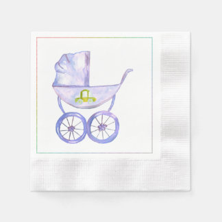 Pastel Lavender Baby Carriage Napkins Paper Napkin