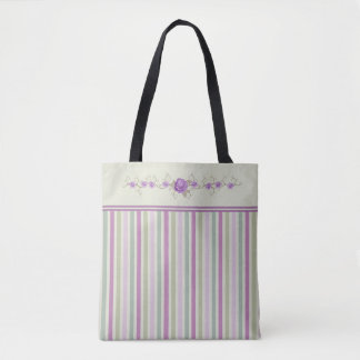 Pastel Lavender Stripes Rose Border Tote Bag