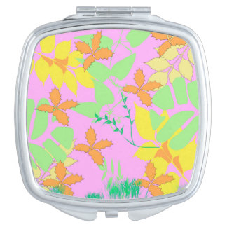 Pastel Leaves Compact Mirror