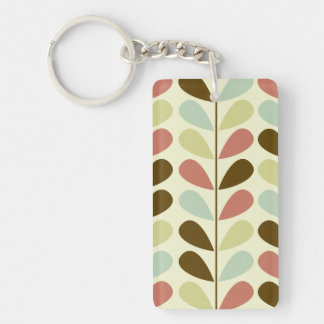 Pastel Leaves Pattern Key Ring